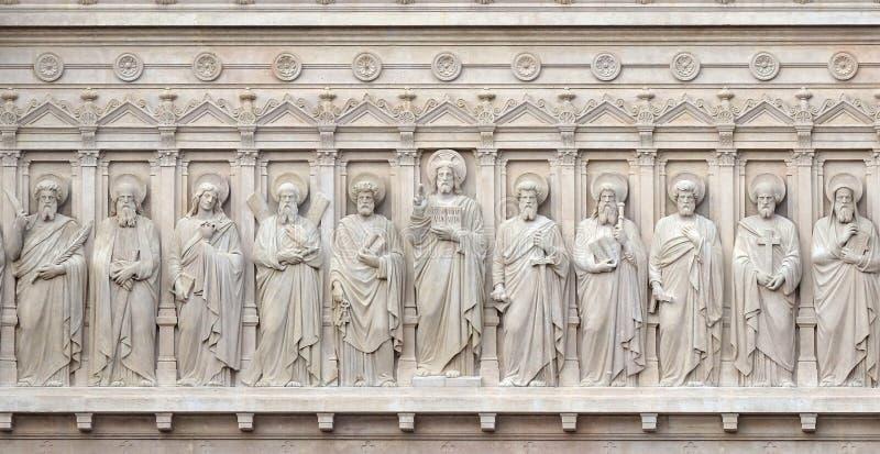 Jesus Christ med apostlar arkivfoton