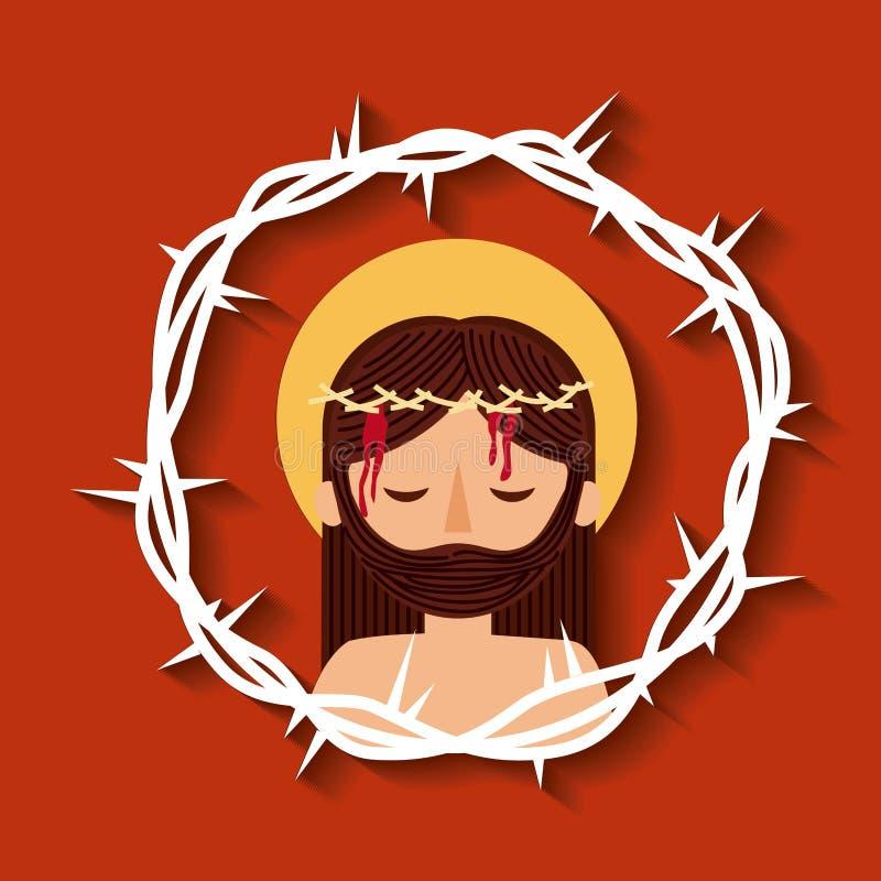 Jesus christ med sakral bild för kronataggar royaltyfri illustrationer