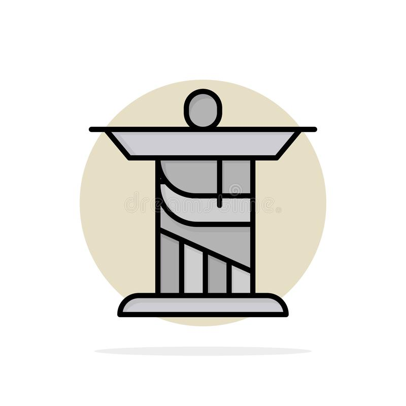 Jesus, Christ, Monument, Landmark Abstract Circle Background Flat color Icon stock illustration