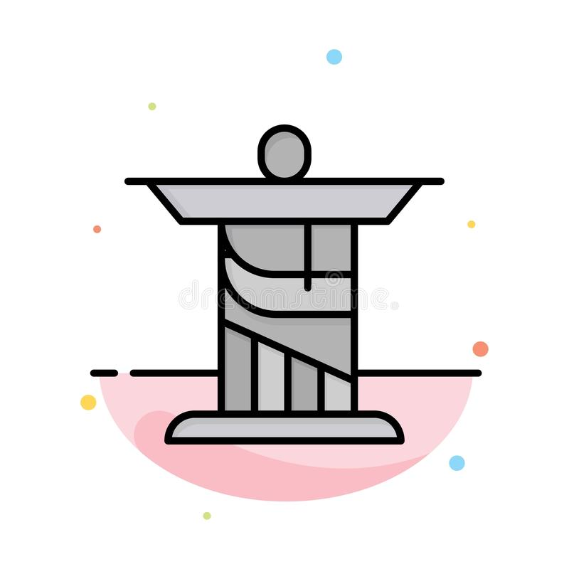 Jesus, Christ, Monument, Landmark Abstract Flat Color Icon Template stock illustration