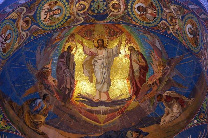 Jesus Christ mosaic in orthodox temple, Petersburg stock photos