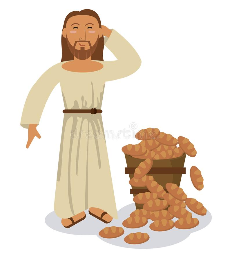Jesus christ multiplication bread miracle symbol stock illustration