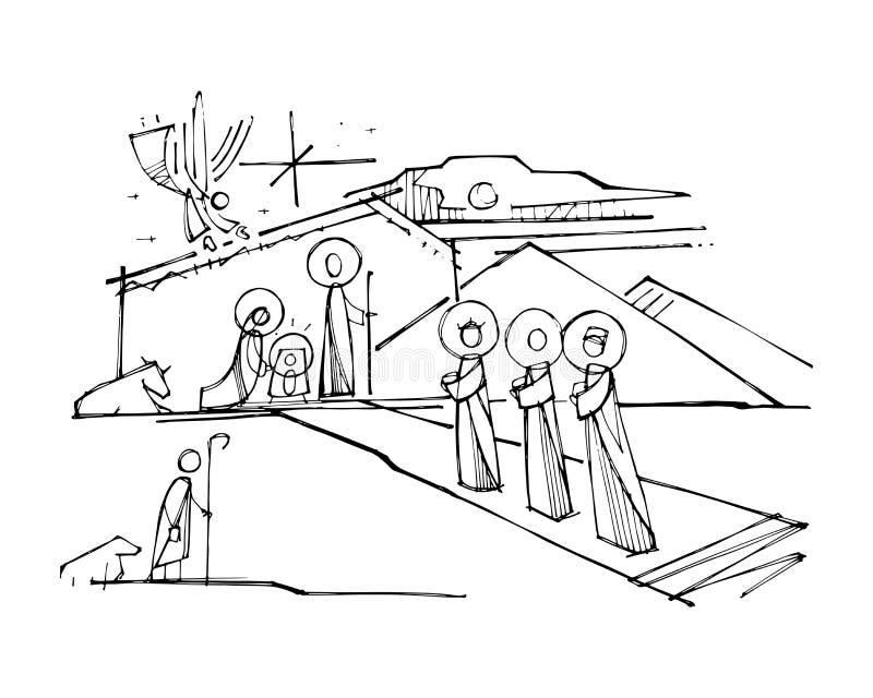 Jesus Christ Nativity ink vector illustration royalty free illustration
