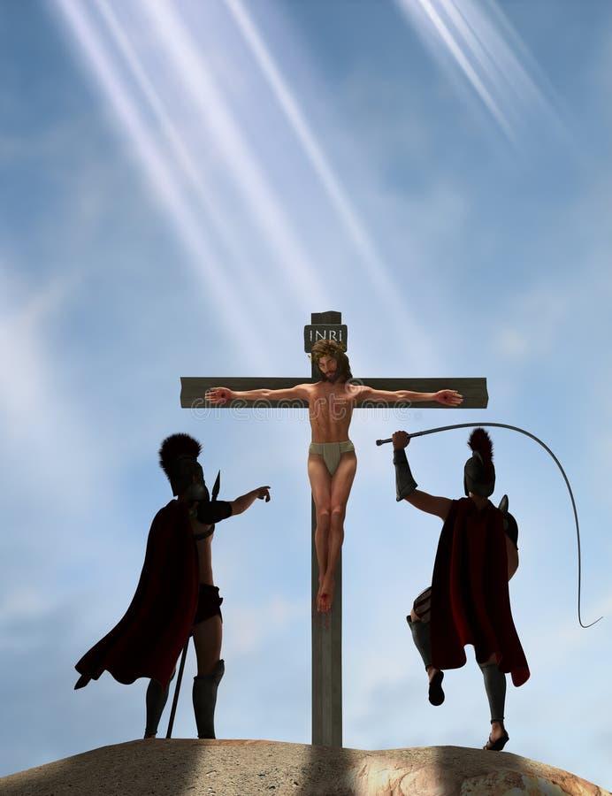Jesus Christ Nazareth Crucified Crucifixion illustration vektor illustrationer