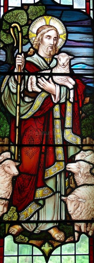 Jesus Christ: O bom pastor no vitral fotografia de stock