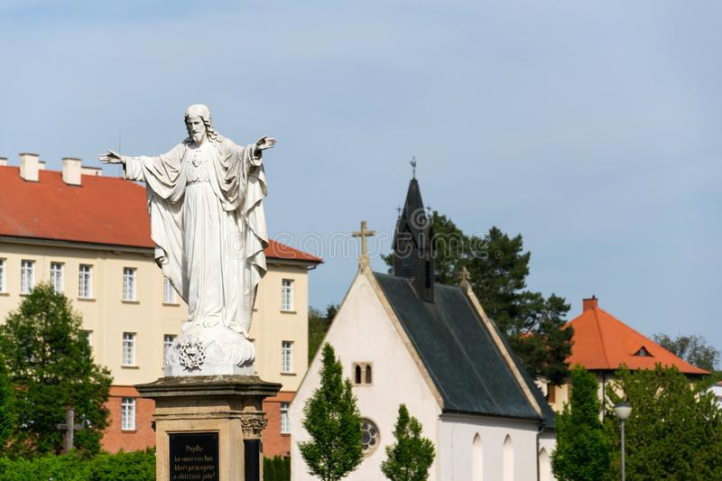 Jesus Christ with open arms statue, Velehrad Basilica, Czech Republic royalty free stock photography