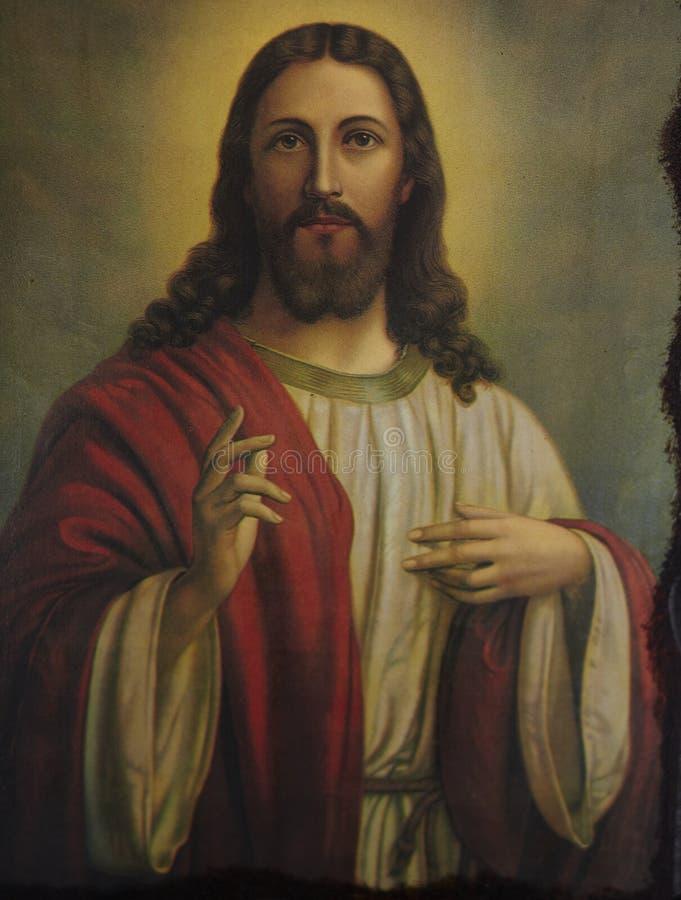 Jesus Christ Orthodox Byzantine Icon Aten arkivbilder