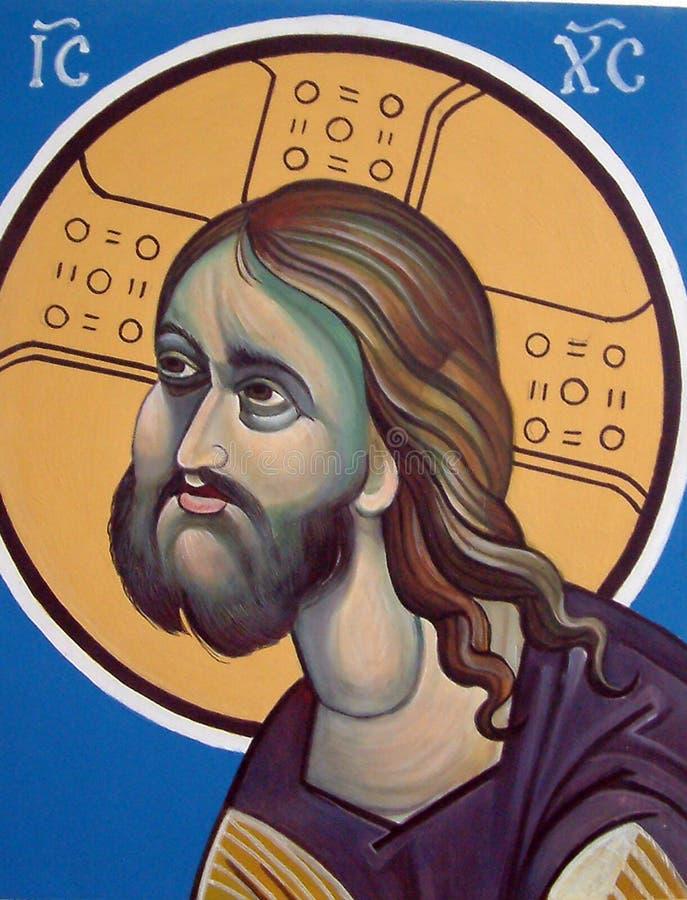 Jesus christ, ortodox symbol arkivfoto
