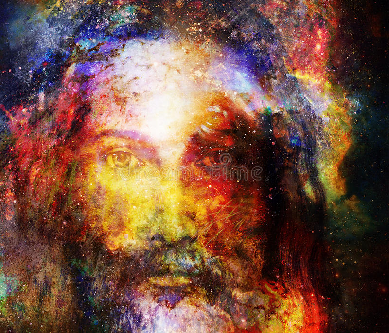 Jesus Christ painting with radiant colorful energy of light in cosmic space, eye contact. royalty free illustration