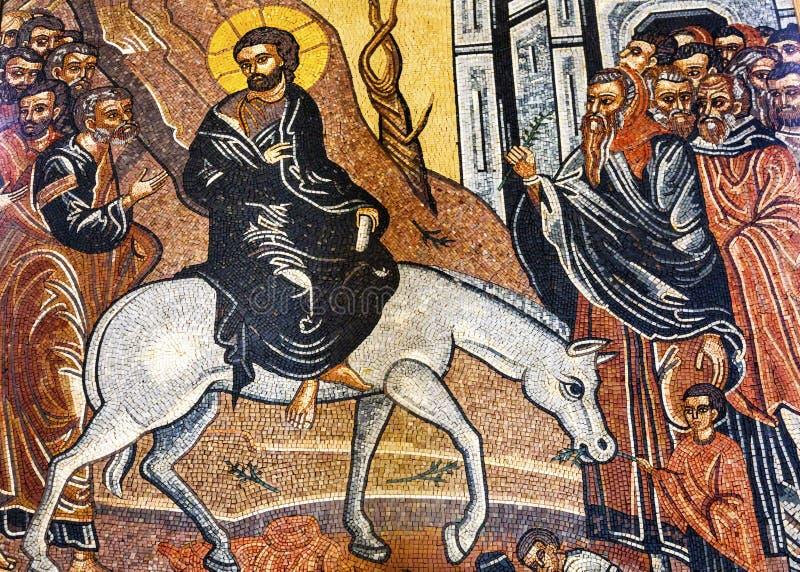 Jesus Christ Palm Sunday Mosaic Heilige George Church Madaba Jordan stock foto's