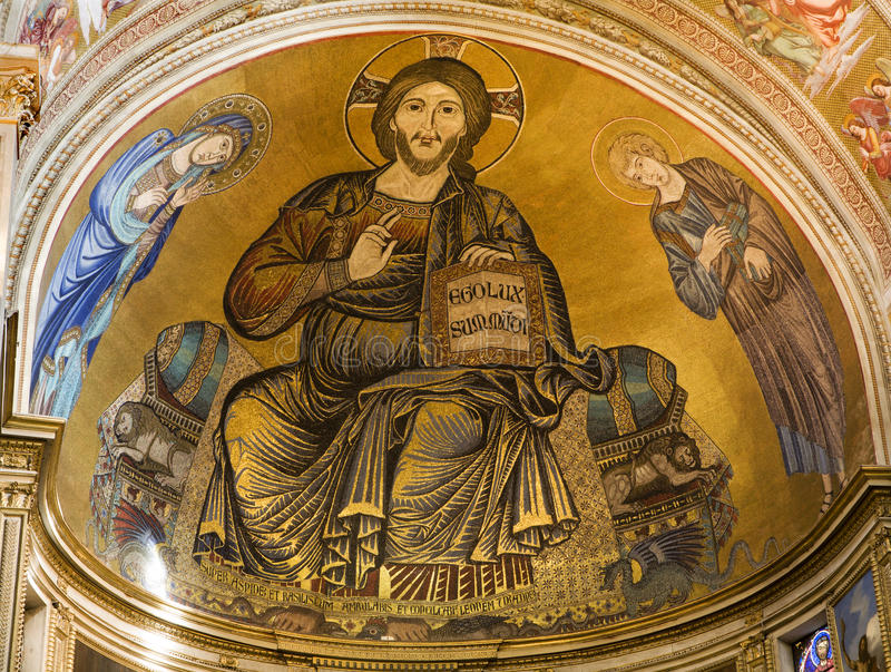 Jesus Christ - Pantocrator from Pisa stock photo