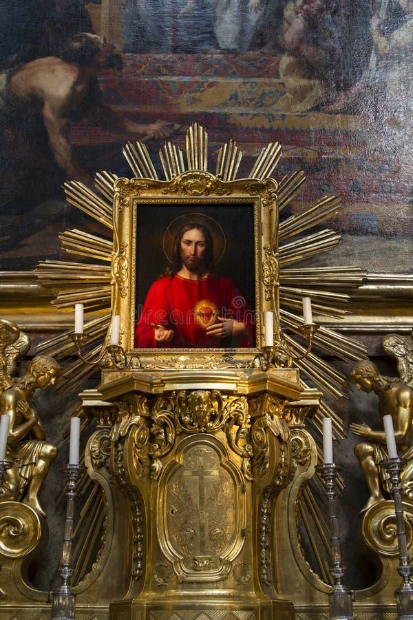 Jesus Christ Picture i kyrka royaltyfri fotografi