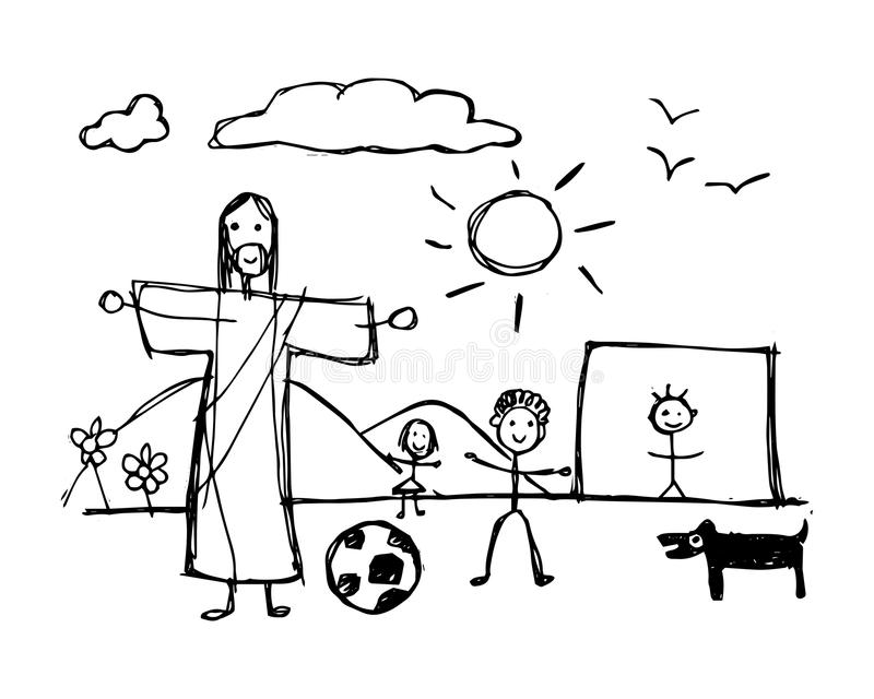 Jesus Christ playing with children in childish style stock illustration
