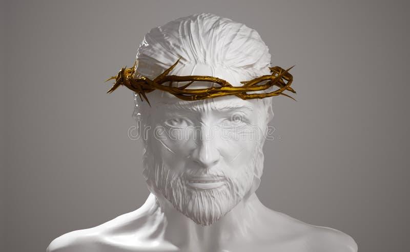 Jesus Christ Porcelain Statue con la corona del oro de las espinas 3D arranca libre illustration