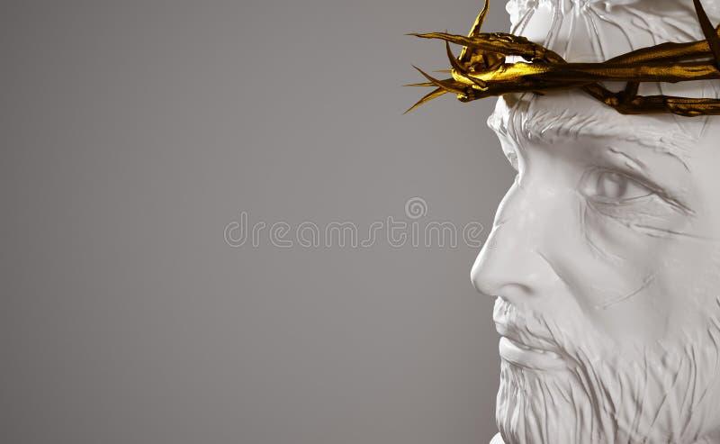 Jesus Christ Porcelain Statue con la corona del oro de las espinas 3D Rende stock de ilustración