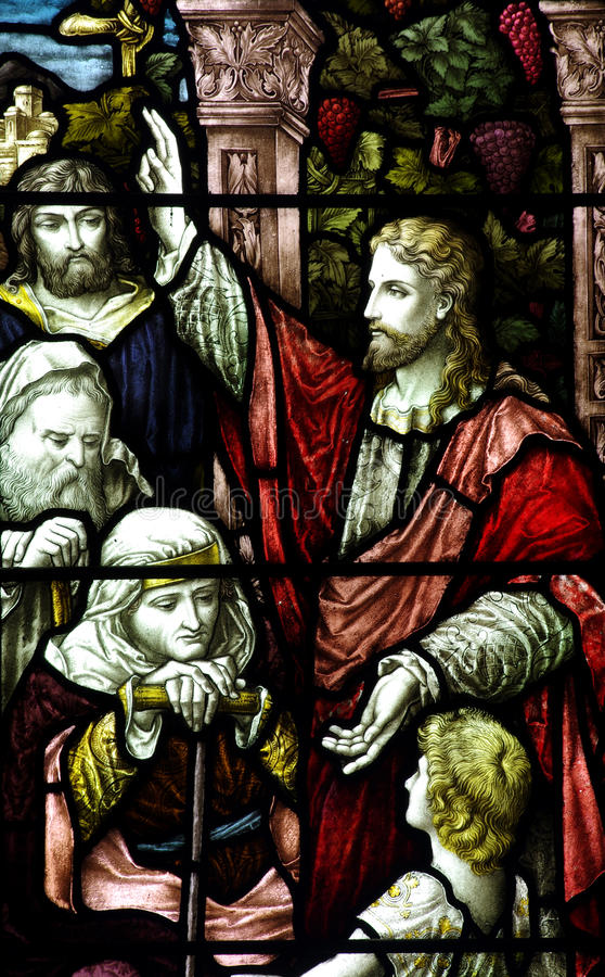Jesus Christ preaching (stained glass window). A photo of Jesus Christ preaching (stained glass window royalty free stock image