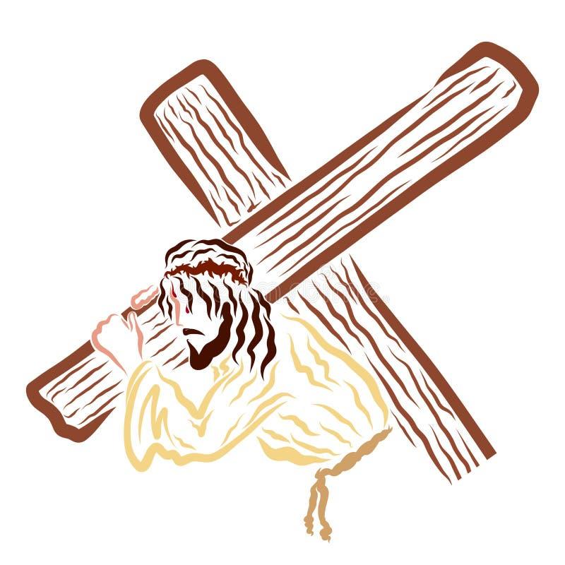 Jesus Christ que lleva la cruz al Calvary ilustración del vector