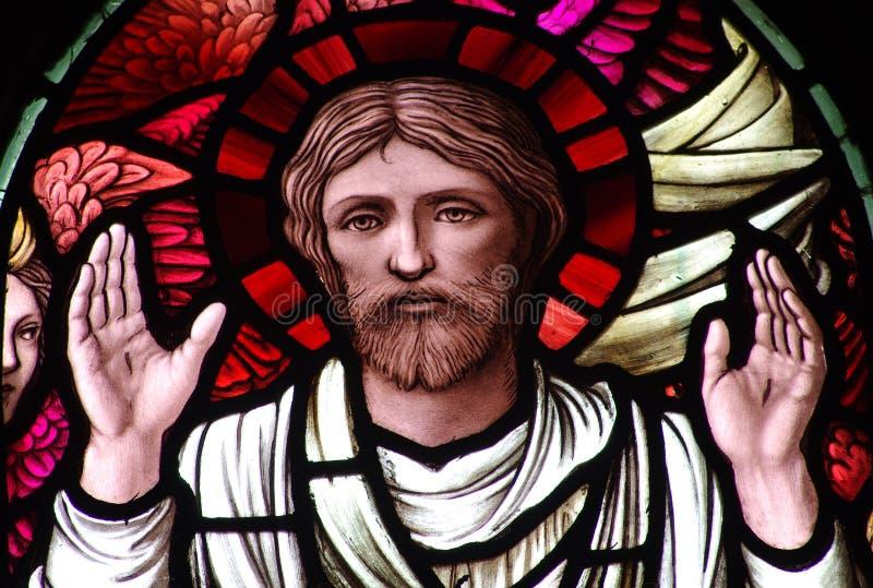 Jesus Christ que mostra estigmas (vitral) foto de stock royalty free