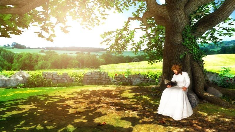 Jesus Christ Reading Bible Under een Boomillustratie royalty-vrije illustratie