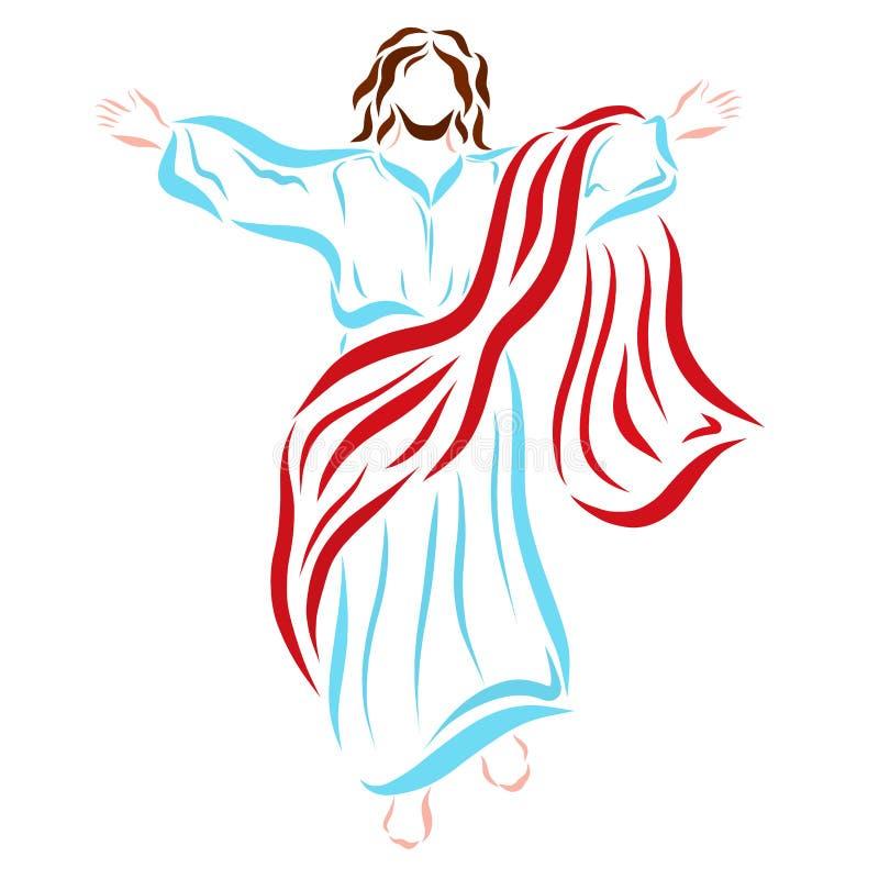 Jesus Christ revivido que ascensão ao céu ilustração royalty free