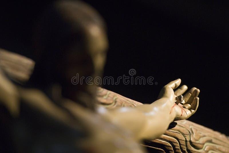 Download Jesus Christ's hand. stock photo. Image of church, darkness - 18532922
