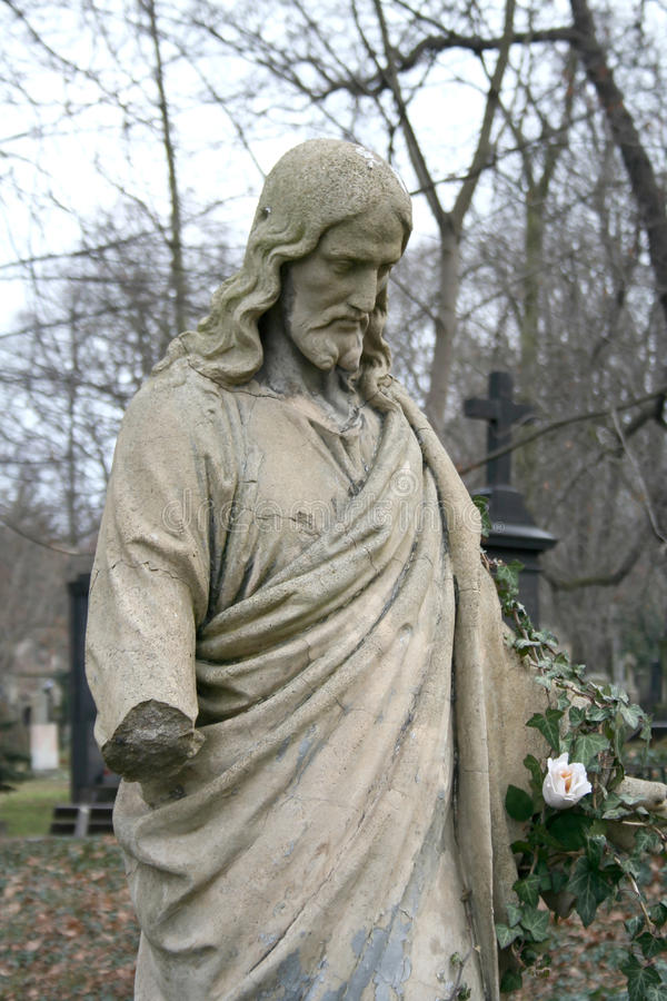 Jesus Christ's sculpture. On the Olshansky cemetery in the city of Prague royalty free stock images