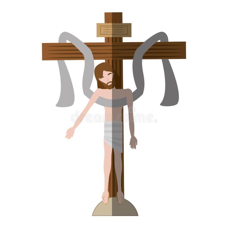 jesus christ sakral arg skugga stock illustrationer