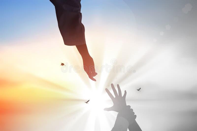 Jesus Christ salvar as mãos humanas fotografia de stock royalty free
