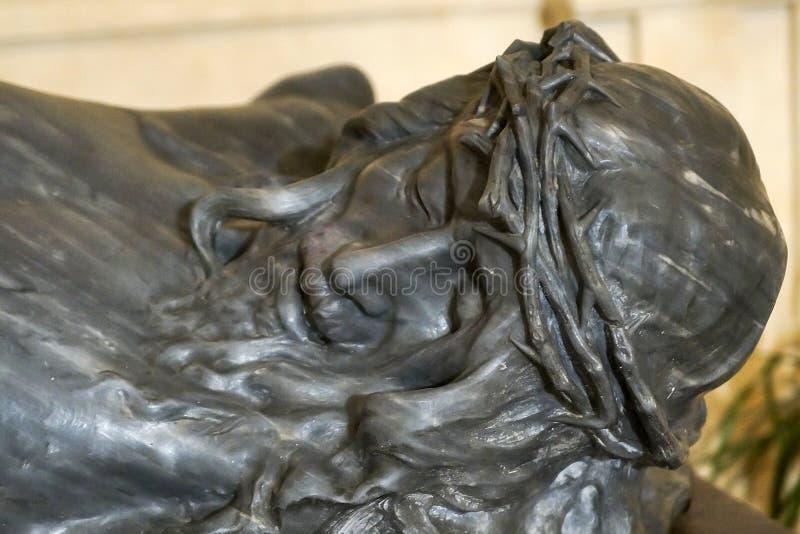 Jesus Christ Sculpture i San Nicola di Mira Cathedral i Noto - Italien arkivfoto