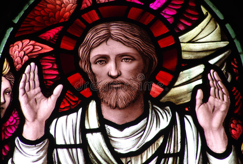 Jesus Christ showing stigmata (stained glass) royalty free stock photo