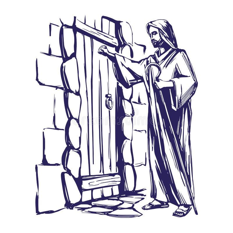 Jesus Christ, Sohn des Gottes klopfend an der Tür, Symbol gezeichneten Vektorillustration des Christentums der Hand lizenzfreie abbildung