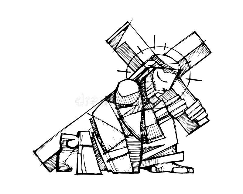 Jesus Christ som bär korset royaltyfri illustrationer