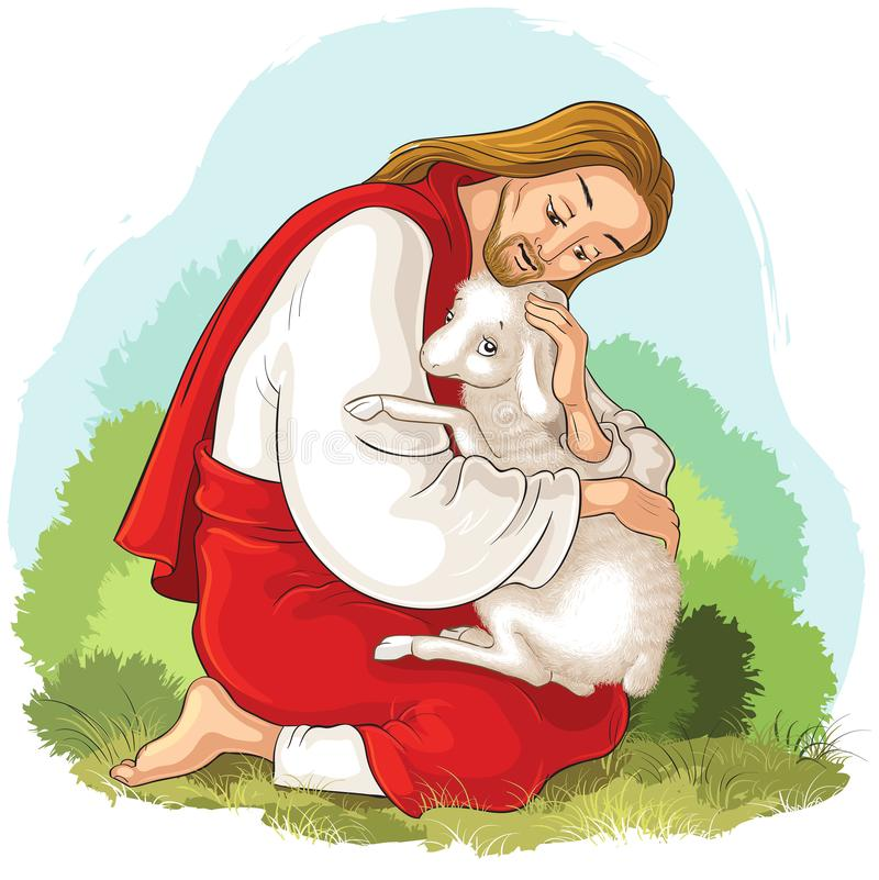 History of Jesus Christ. The Parable of the Lost Sheep. The Good Shepherd Rescuing a Lamb Caught in Thorns. Jesus Christ, Son of God, holding a lamb in his hands royalty free illustration