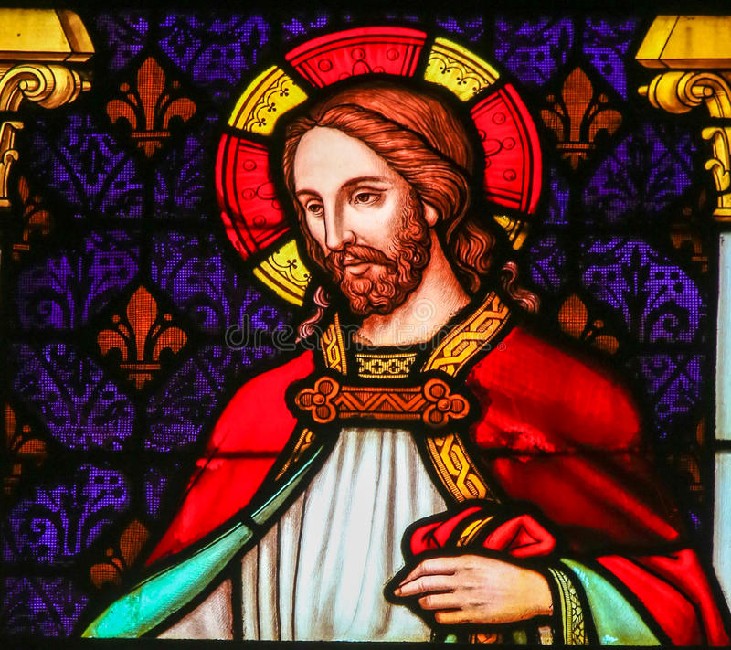 Jesus Christ - Stained Glass in Mechelen Cathedral. Stained Glass window depicting Jesus Christ, in the Cathedral of Saint Rumbold in Mechelen, Belgium stock photos