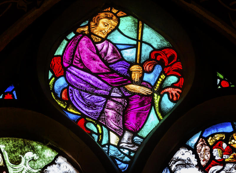 Jesus Christ Stained Glass Window DE Krijtberg Amsterdam Nederland stock foto's