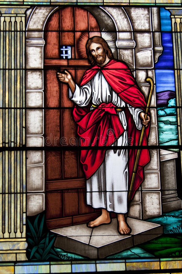 Jesus Christ Stained Glass Window Vertical Editorial