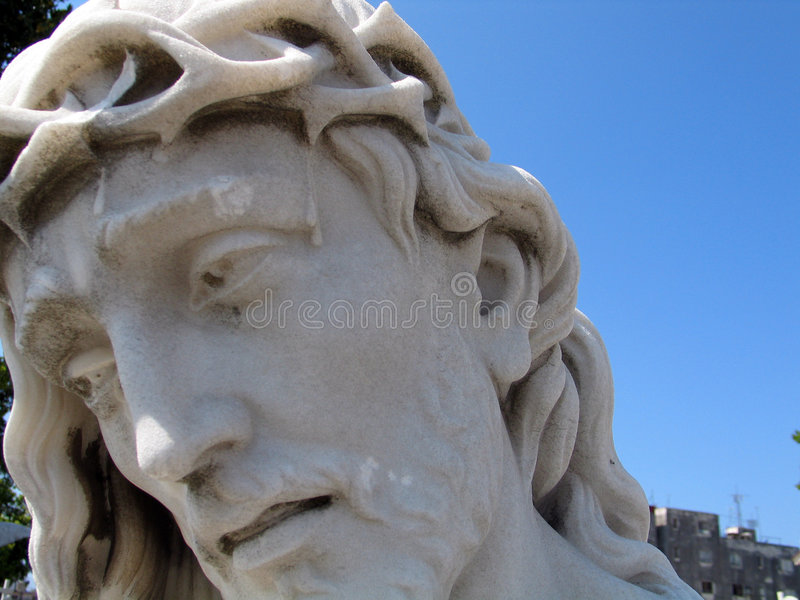 Jesus Christ statue. Detail of cemetery statue stock photography