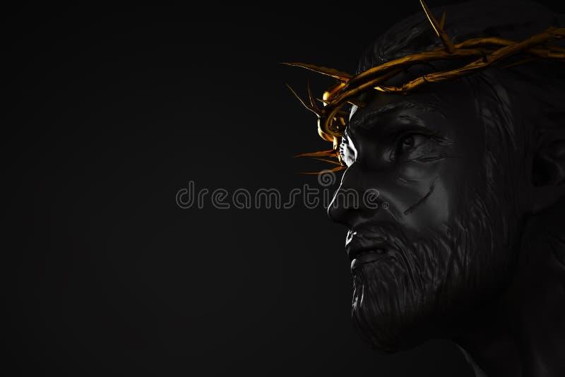 Jesus Christ Statue avec la couronne d'or du côté de rendu des épines 3D illustration de vecteur
