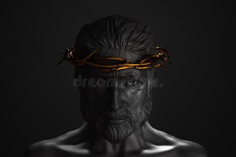 Jesus Christ Statue con la corona del oro de las espinas 3D que rinden el frente stock de ilustración