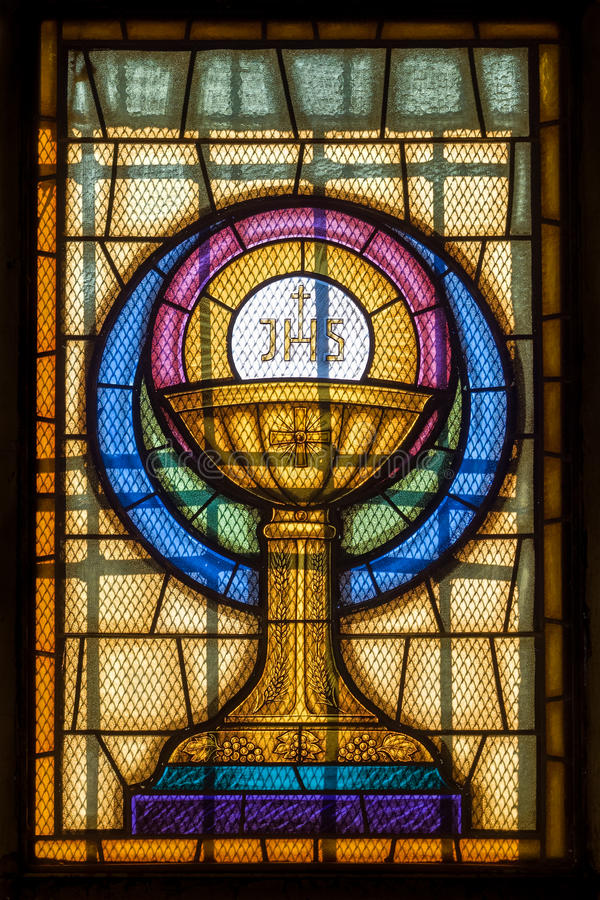 Jesus Christ Symbol im Buntglas stockfotografie