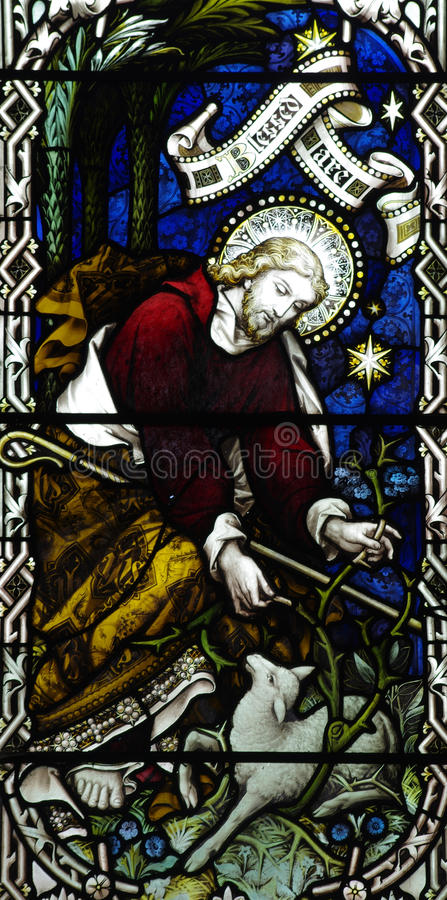 Free Jesus Christ The Good Shepherd In Stained Glass Royalty Free Stock Image - 54603586