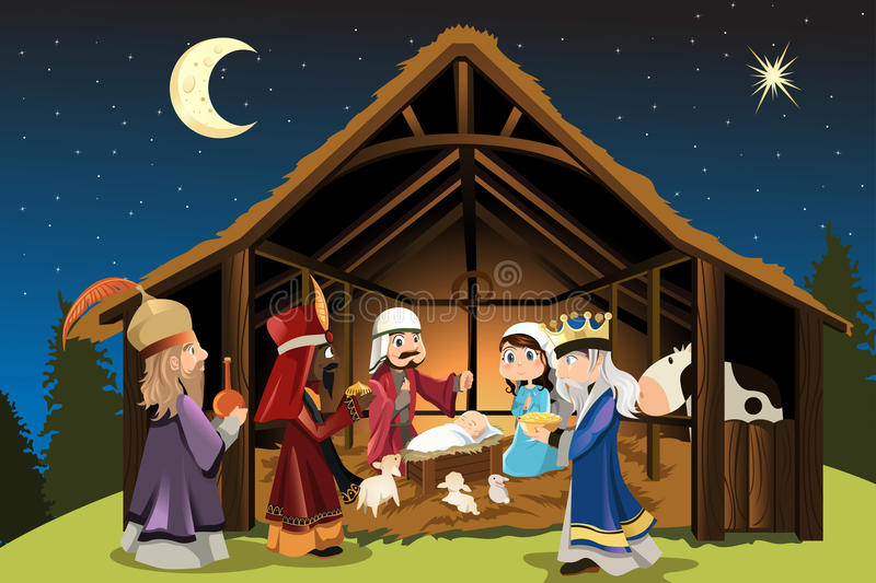 Jesus Christ and three wise men. A vector illustration of Christmas concept of the birth of Jesus Christ with Joseph and Mary accompanied by the three wise men
