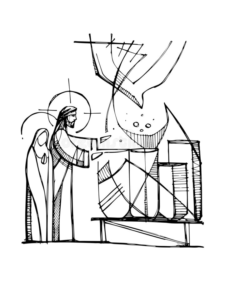 Jesus Christ turning water to wine stock illustration