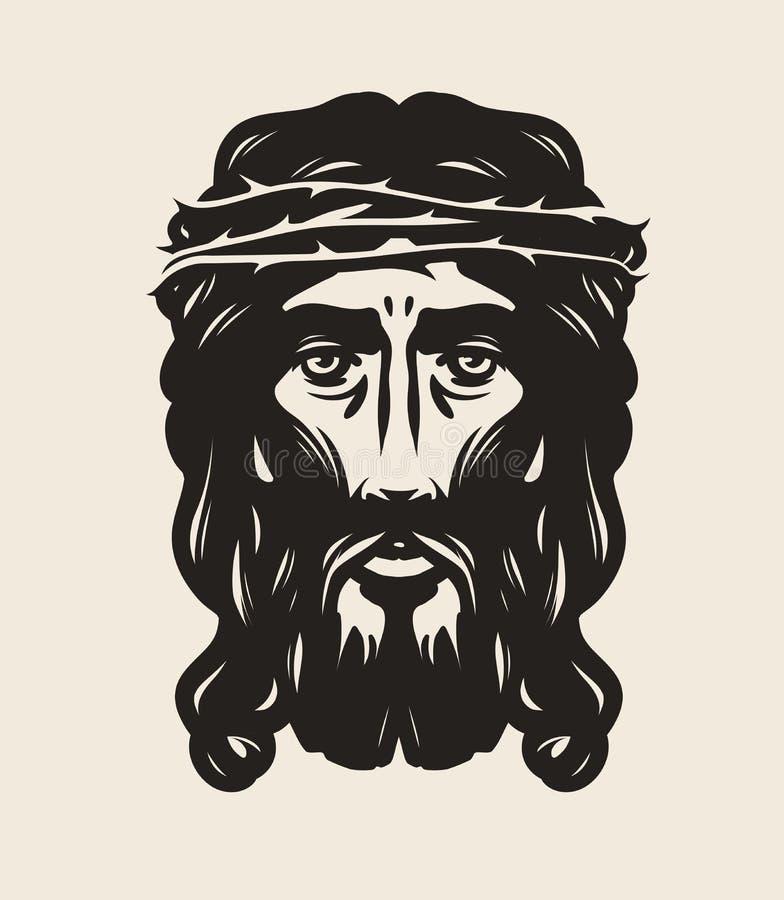 Jesus Christ vänder mot Gud religionsymbol konstvektorillustration royaltyfri illustrationer