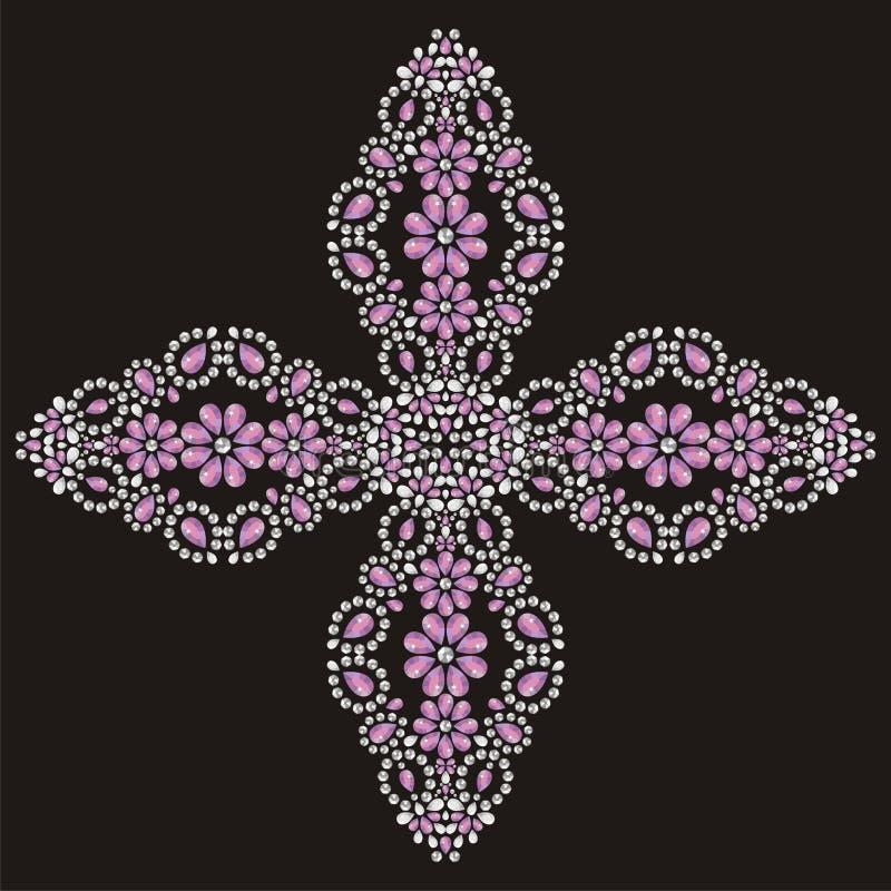 Jesus Christ Vintage schöner aufwändiger Christian Cross von den glänzenden Steinen, vom Silber und vom Rosa stock abbildung