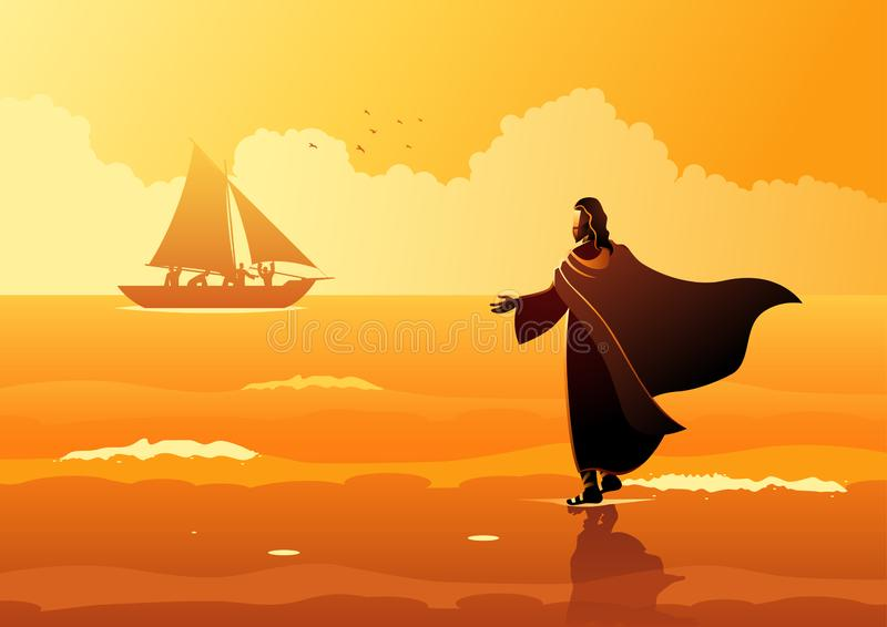 Jesus Christ Walking op Water royalty-vrije illustratie