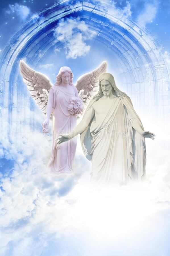 Free Jesus Christ With Beautiful Angel Like A Hope, Protection, Love And Peace Concept Stock Photography - 202896262