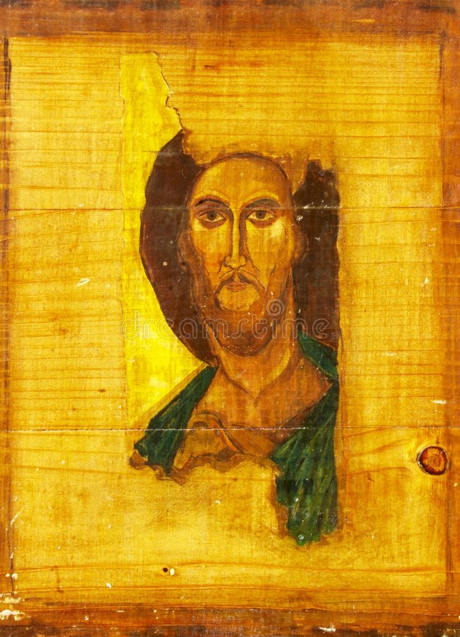 Jesus Christ wood painting stock photography