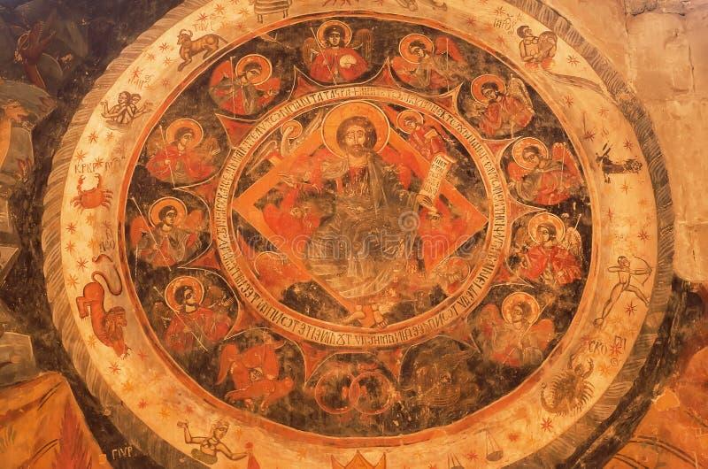 Jesus Christ y el zodiaco firma en el fresco antiguo de la pared de la catedral de Svetitskhoveli Sitio de la herencia de la UNES fotos de archivo libres de regalías