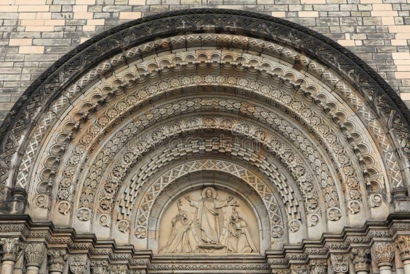 Jesus Christ zegent aan Heilige Cyril en Methodius stock afbeelding